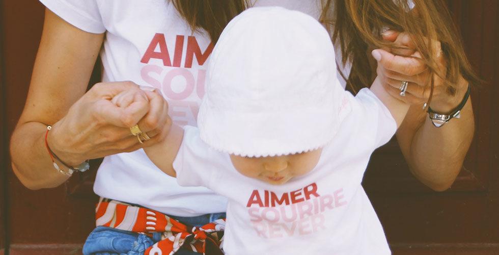 Chloé Jean-Girault et Colette portants les t-shirts Risette and Co