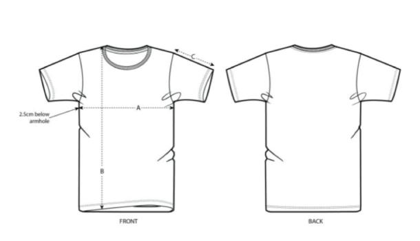 Schéma des dimensions des t-shirts