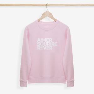 Sweatshirt Femme rose pâle sur cintre