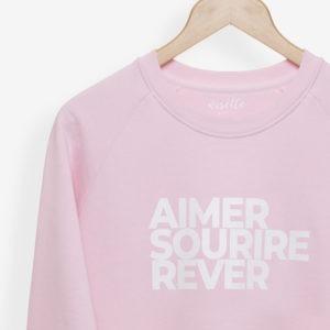 Sweatshirt Femme rose pâle détails de l'impression