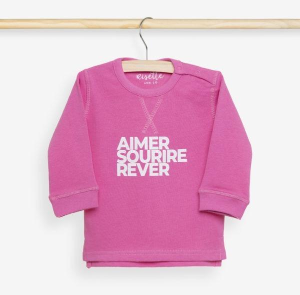 Sweatshirt Bébé rose bonbon sur cintre