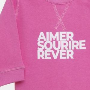 Sweatshirt Bébé rose bonbon détails de l'impression