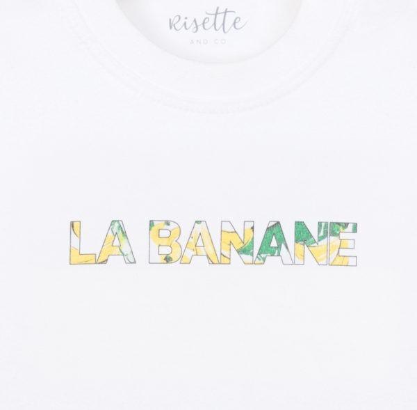 T-Shirt-LA BANANE-BEBE_Face détail encolure bord côte et imprimé