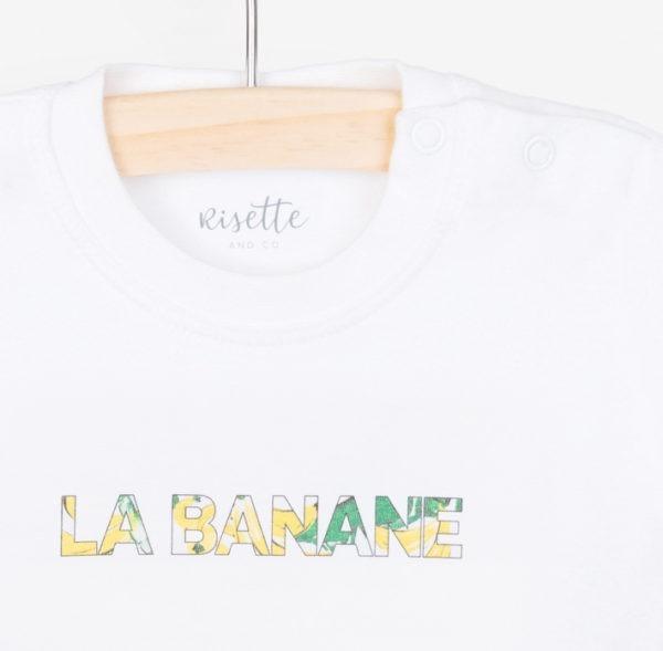 T-Shirt-LA BANANE-BEBE_Face détail encolure et imprimé