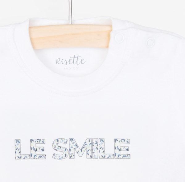 T-Shirt-LE SMILE_BEBE-BLEU_Détail encolure et impression