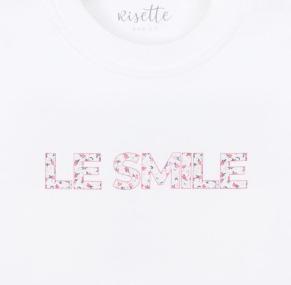T-Shirt-LE SMILE_BEBE-ROSE_Détail impression