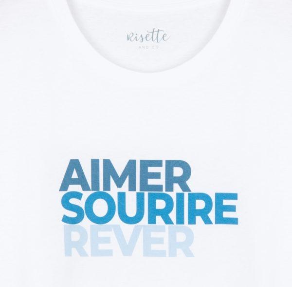 T-shirt-Aimer Sourire Rêver_ADULTE-BLEU_détail impresion
