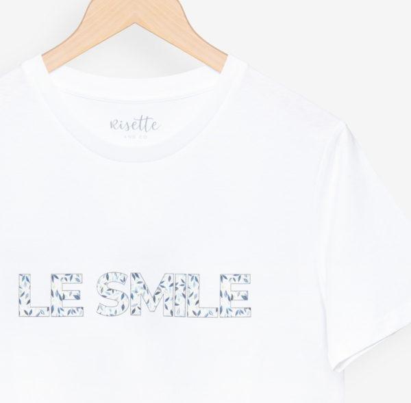 T-shirt LE SMILE_ADULTE-BLEU_détail imprimé