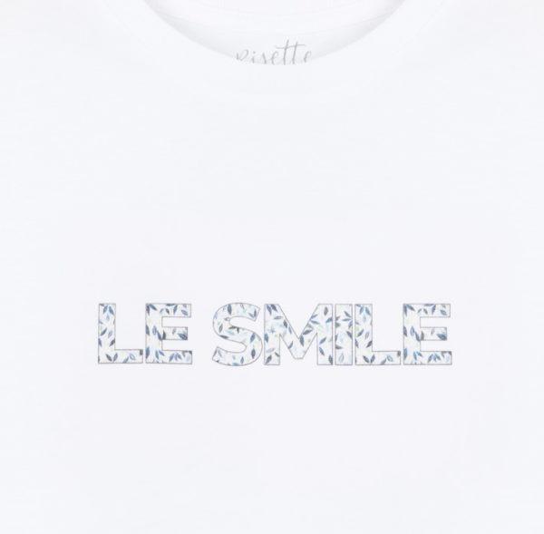 T-shirt-LE SMILE_ENFANT-BLEU_Détail impression