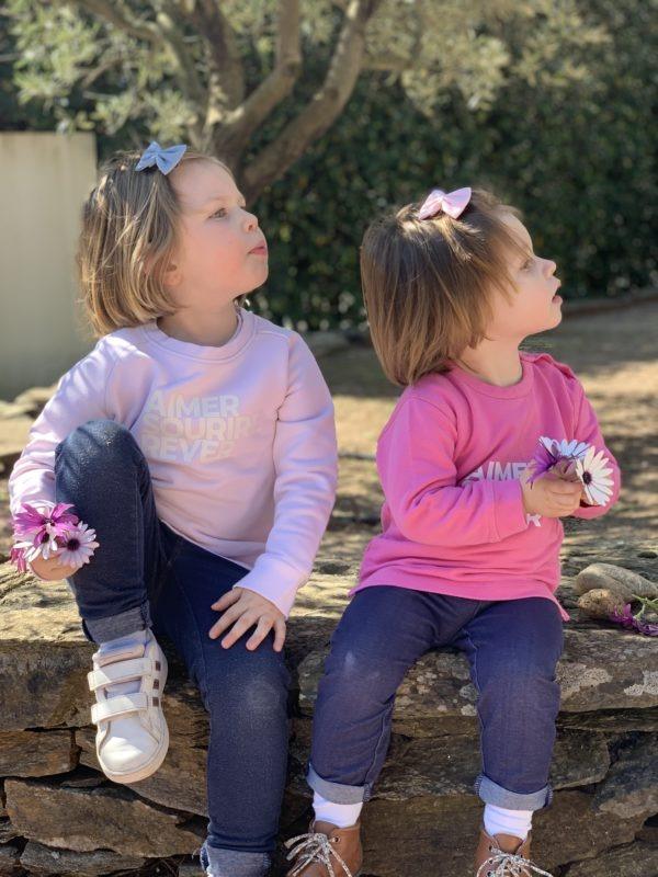 Sweat Aimer Sourire Rêver enfant rose pâle et bébé rose bonbon portés – Duo de soeurs
