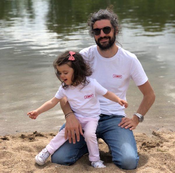 T-shirt AIMER brodé rouge duo père fille