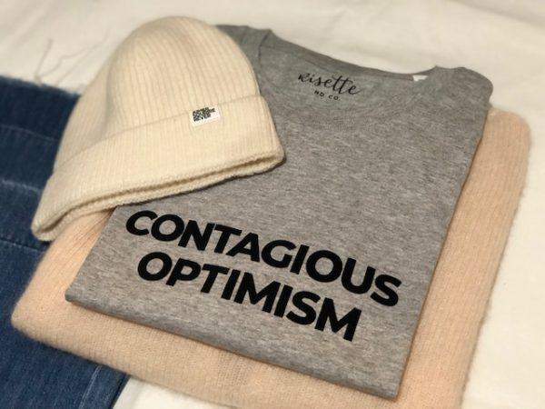 Contagious optimism gris sur maille 2