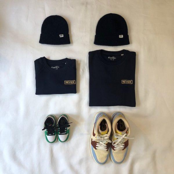 Sweat marine brodé REVER gold duo adulte enfant avec bonnets et chaussures