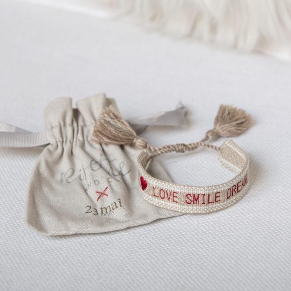 Bracelet Love Smile Dream Risette and Co en collaboration avec 23 Mai _ avec pochon tissu